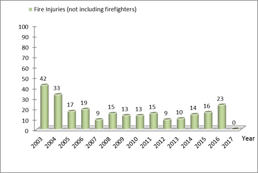 Statistic on Fire injuries